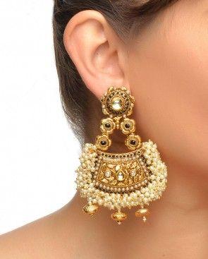 Gold - Black & Faux Pearl Earrings