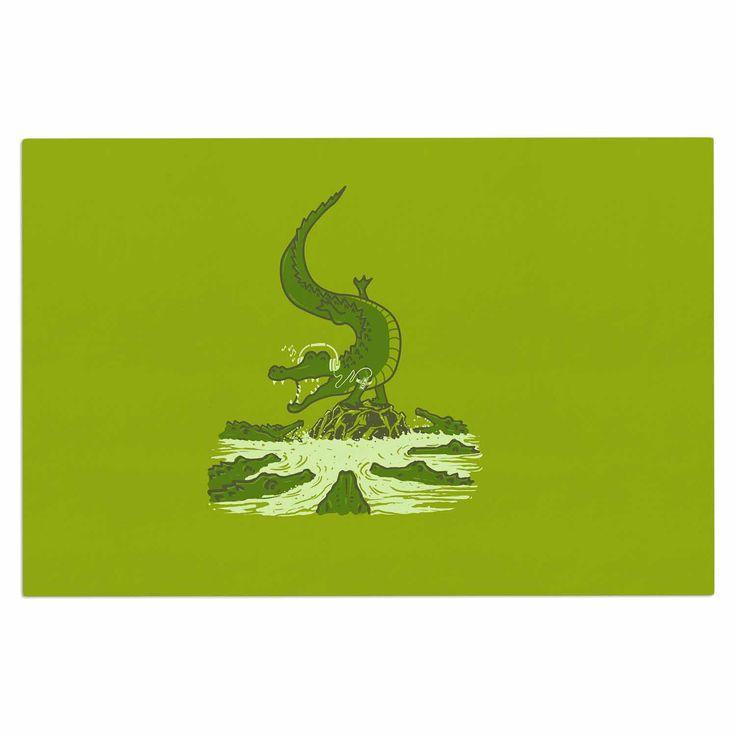 "BarmalisiRTB ""Breakdance Crocodile"" Green Beige Decorative Door Mat"