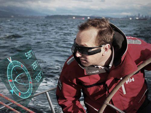AFTERGUARD by AFTERGUARD SYSTEM : une paire de lunette connectée. L'Afterguard system est une paire de lunette dotée d'une réalité augmentée qui permet aux navigateurs de garder le cap et un œil sur tous les paramètres. L'écran est un véritable tableau de bord qui indique la vitesse de déplacement réelle, polaire de vitesse, angle et vitesse du vent, profondeur, etc. http://afterguard.co/