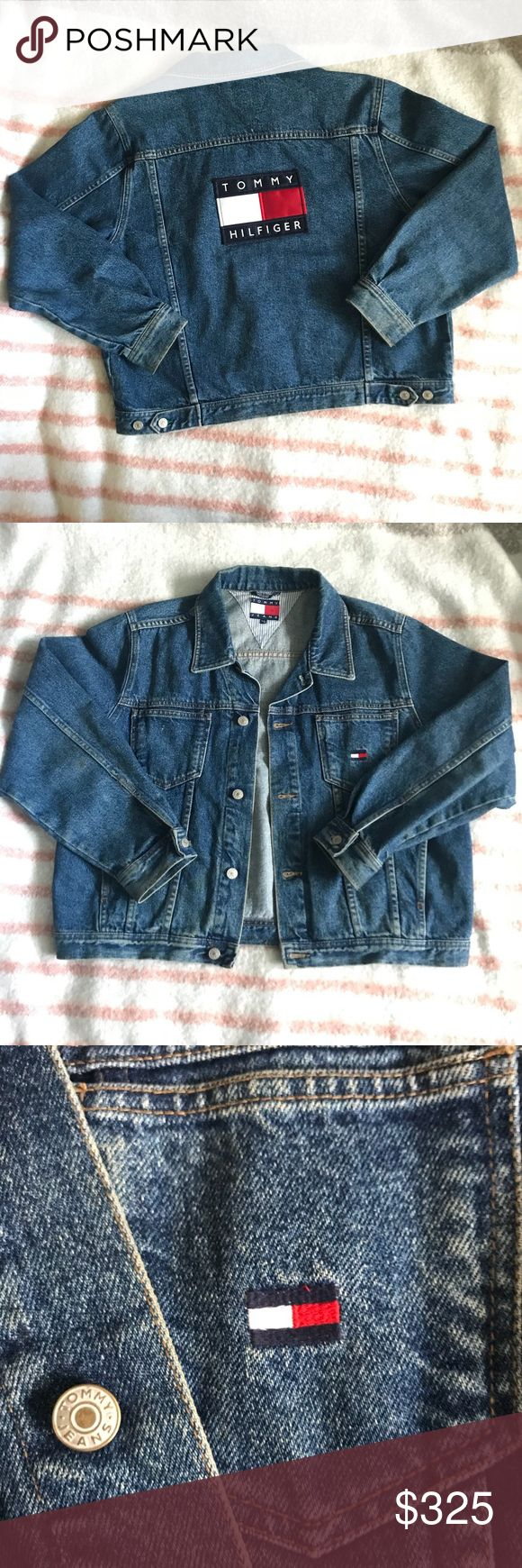 90s Tommy Hilfiger Jeans Denim Flag Logo Jacket Vintage Tommy Hilfiger / Tommy Jeans preowned 90s Denim Jacket. Men's size large and very good looking for it's age. Medium wash denim with button front closure and big Tommy Hilfiger flag logo and name spell out on the back. Tommy Hilfiger Jackets & Coats Lightweight & Shirt Jackets
