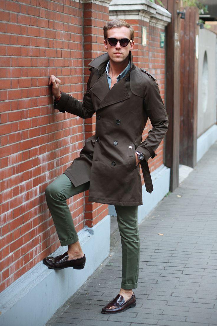 Burberry trench coat  vintage jeans shirt  Incotex chinos  Goyard bag