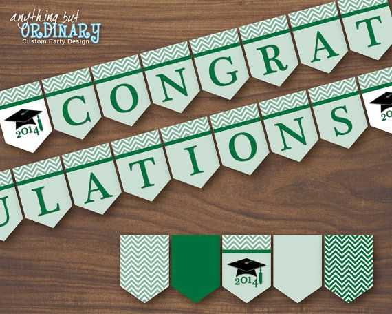 green and white printable graduation banner 2018 congratulations