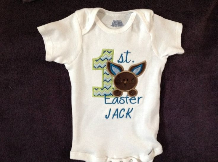 First Easter onesie, 20.00. Made by Tempting Threads Embroidery, check them out on Facebook... https://www.facebook.com/temptingthreadsembroidery