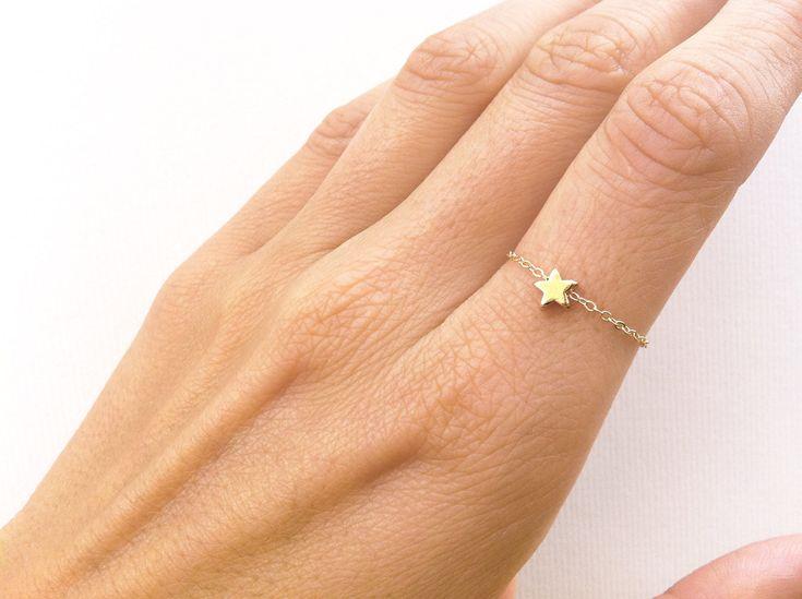 Anello stella impilabile delicato anello con una di MinimalVS