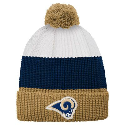 Los Angeles Rams Youth Vintage Ribbed Cuffed Knit Hat - White/Gold