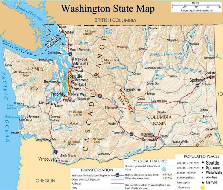 Best Seattle Washington Info Images On Pinterest Seattle - Washington state us map