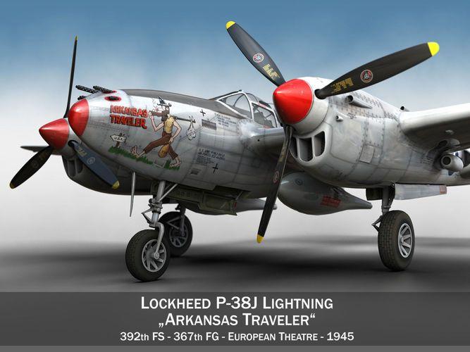lockheed p-38 lightning - arkansas traveler 3d model obj fbx c4d lwo lw lws mtl 1