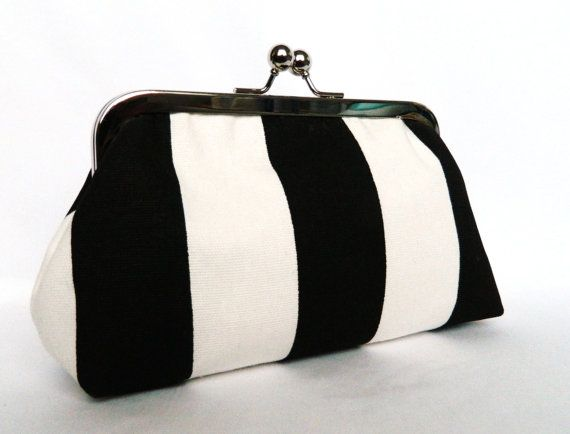Black+and+White+Stripe+Monochrome+Framed+Clutch+by+TheHeartLabel,+£21.20