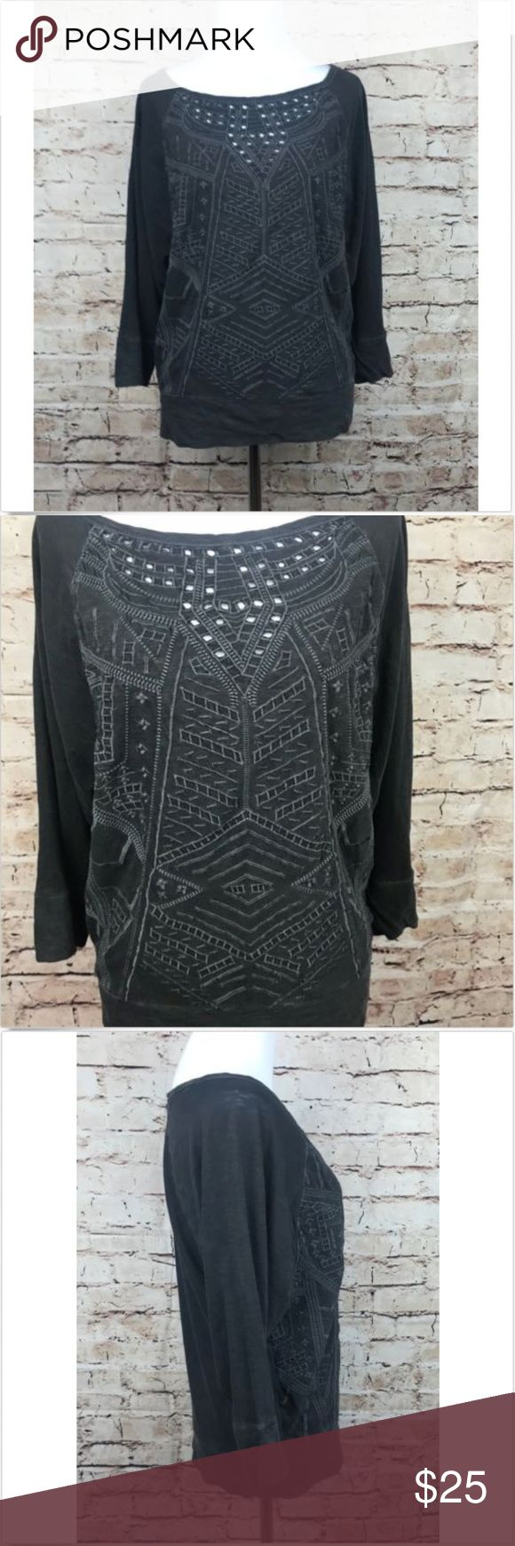 """Lucky Brand Lucky Lotus Eyelet Aztec 3/4 slv. Top Lucky Brand Lucky Lotus Women's Navy Eyelet Aztec Print Top 3/4 Sleeve New, sz S  **There is a small hole on the shoulder, that was caused when a tag was removed. It is circled in the last picture**  Measurements:   Armpit to Armpit: 18"""" Length: 22"""" Lucky Brand Tops Tees - Long Sleeve"""
