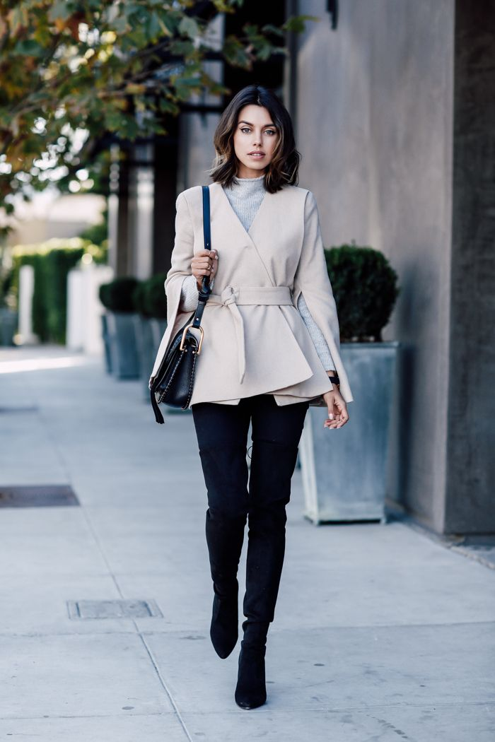 For a cute fall outfit, try wearing black jeans with thigh high boots and a wrap around cropped coat like Annabelle Fleur. This look is smart chic at it's finest! Coat: Cosette Clothing, Sweater: Tommy Hilfiger, Boots: Stuart Weitzman.