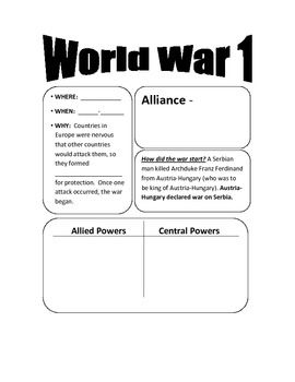These two pages are for students to take notes over the main ideas of World War 1. They are sized so they can easily be cut out and placed in an interactive notebook.