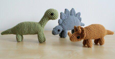 teeny crochet dinosaurs from Planet June Craft blog http://www.planetjune.com/blog/dinosaur-crochet-patterns-are-here/