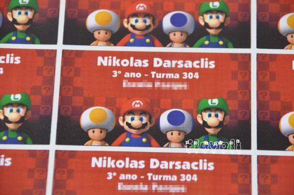 Etiqueta para material escolar - Mario Bros  :: flavoli.net - Papelaria Personalizada :: Contato: (21) 98-836-0113 - Também no WhatsApp! vendas@flavoli.net