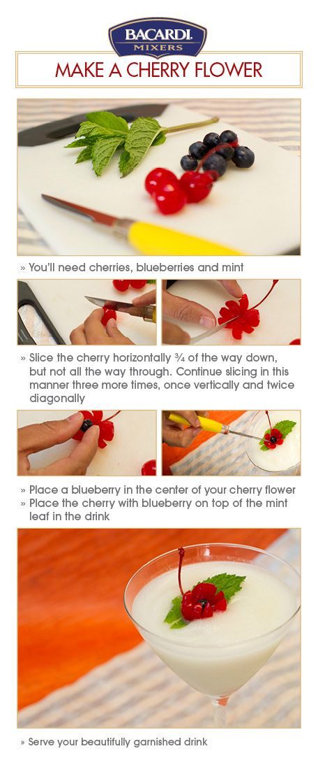 Cherry Flower: #DIY, #garnish, #cocktail, #drink