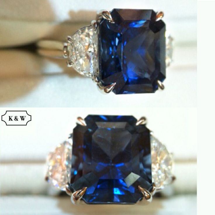 8 Carat #SapphireRing with Half Moon Diamonds #kwdiamonds