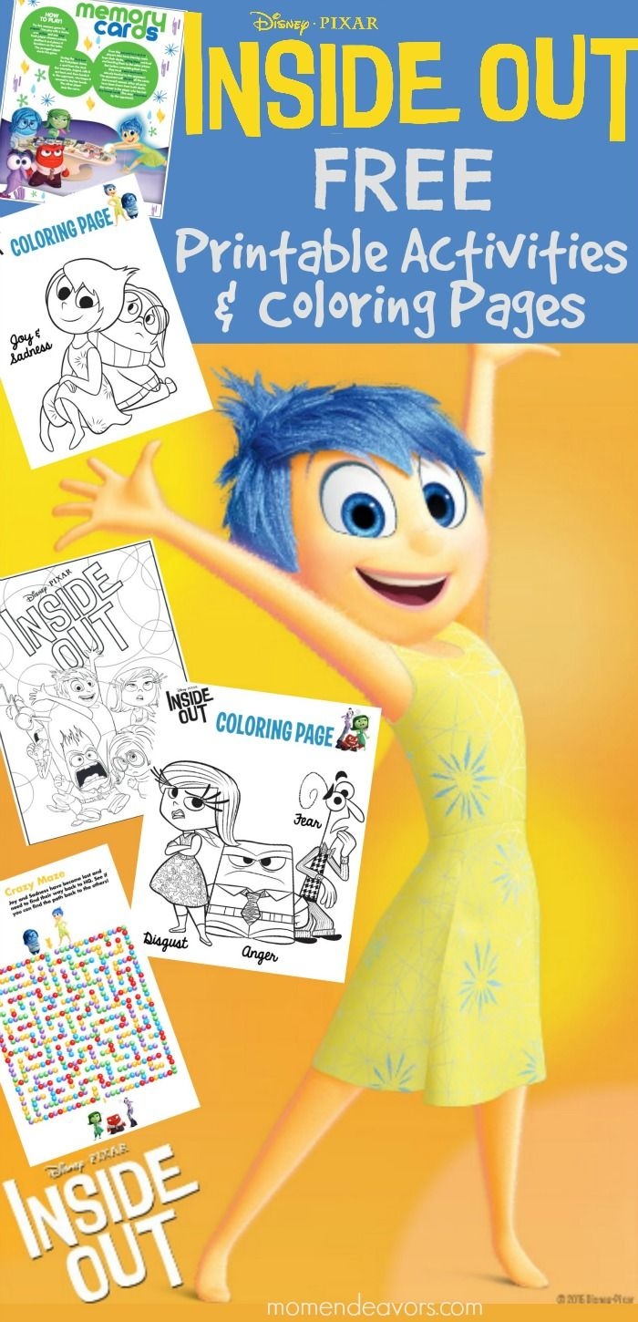 Awesome DisneyPixars INSIDE OUT printable activities  coloring