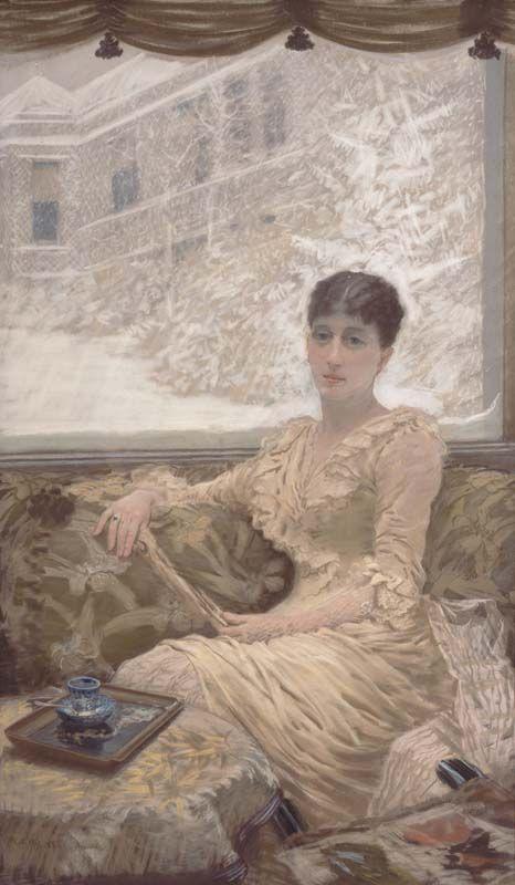 Giuseppe De Nittis,  Giornata d'inverno, 1882  Pastello, cm. 150x89  Barletta, Pinacoteca Giuseppe De Nittis