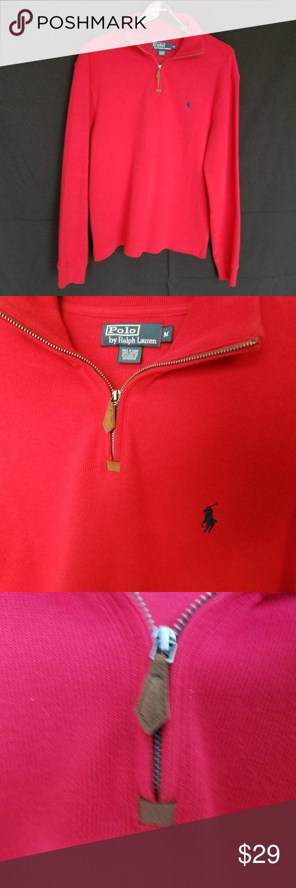 Polo Ralph Lauren Men's 1/2 Zip Pullover Sweater Polo Ralph Lauren Men's Half 1/2 Zip Pullover Sweater  Color: Red  Size: Medium   Almost new condition. Worn once. See Pics Polo by Ralph Lauren Sweaters Zip Up
