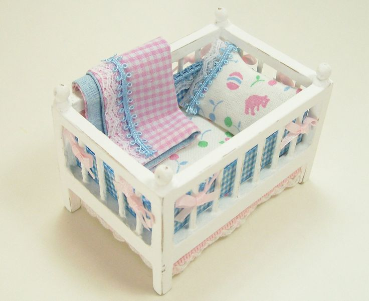 Dollhouse Miniature Bassinet Small Crib White Pink Blue Baby Nursery Room  One Inch Scale. $45.00