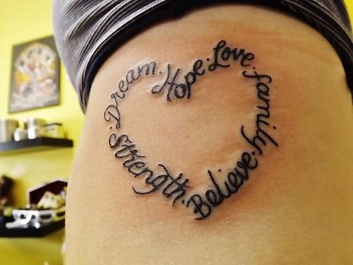 family+believe+love+strength+tattoo | meaningful tattoos on Tumblr