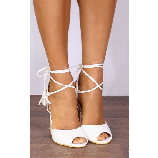 Shoe Closet White Pu Leather Barely There Wrap Round Lace Ups Strappy... (£29) ❤ liked on Polyvore featuring shoes, sandals, white, high heel sandals, white strappy sandals, white stilettos, high heel shoes and white shoes