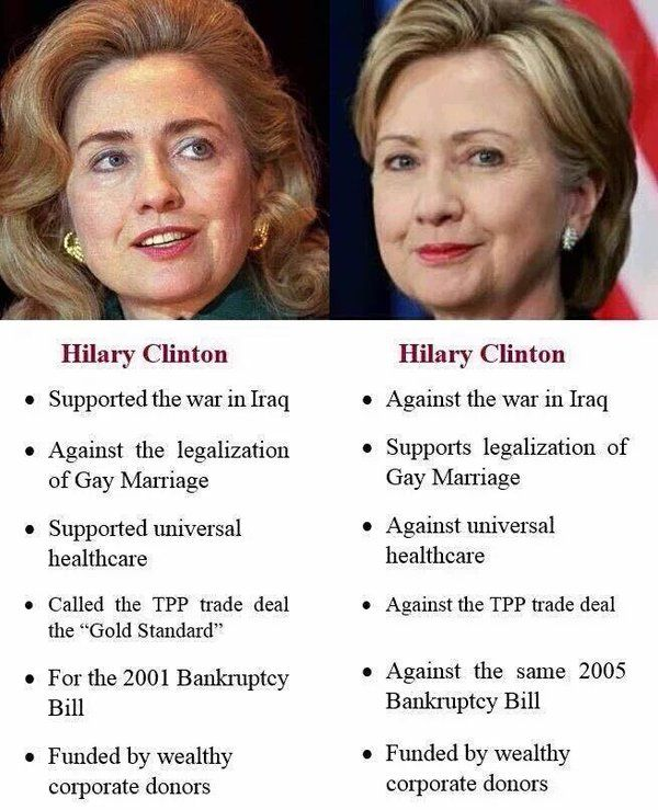 Hillary Clinton- a few years ago & now (she'll say & do anything to get elected to power)