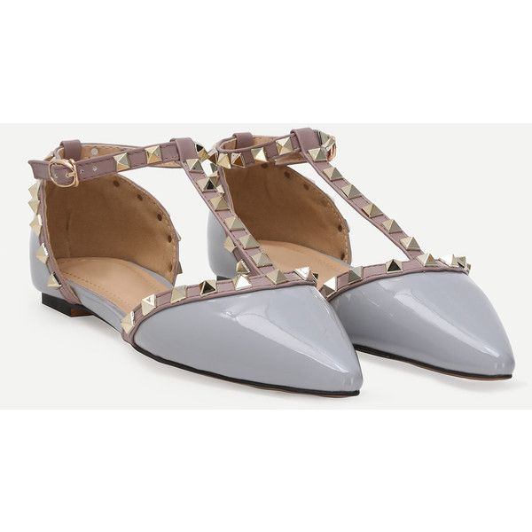 Grey Faux Patent Studded T-Strap Flats (46 BAM) ❤ liked on Polyvore featuring shoes, flats, t-strap flats, studs shoes, t strap flat shoes, t bar flat shoes and t bar flats