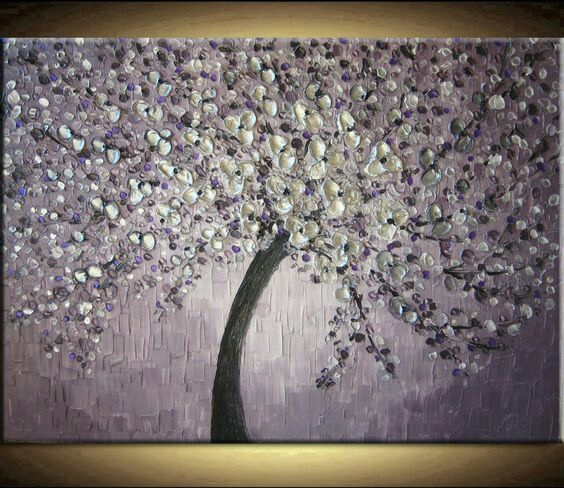 Large Oil Impasto Painting Original Custom Abstract Texture Modern Purple Silver Gray Floral Tree Sculpture Knife Painting By Je Hlobik