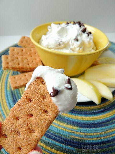 Skinny Chocolate Chip Cannoli Dip via thefrugalfoodiemama.com #healthydessert #gameday #lowfat
