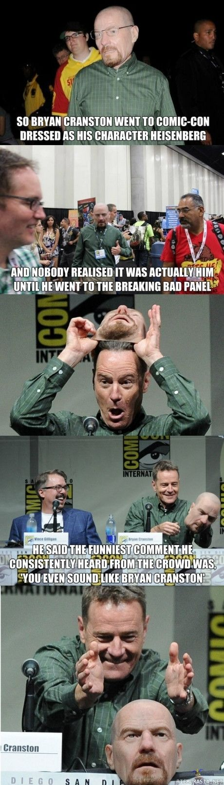 Bryan Cranston in comic con- this dude is such a great guy!