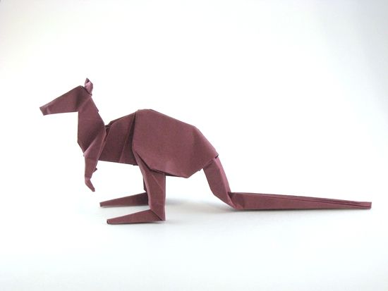 Origami Kangaroo by Steven Casey Folded from a square of Tant paper by Gilad Aharoni on www.giladorigami.com