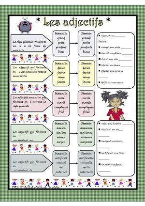 Quelques règles pour former le féminin des adjectifs qualificatifs accompagnées des exercices - Fiches FLE