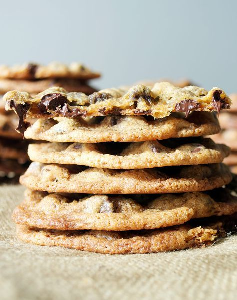 This is the Best Chocolate Chip Cookie Recipe. Thin, chewy, crispy, buttery & loaded with chocolate. A favorite tried-and-true cookie recipe.