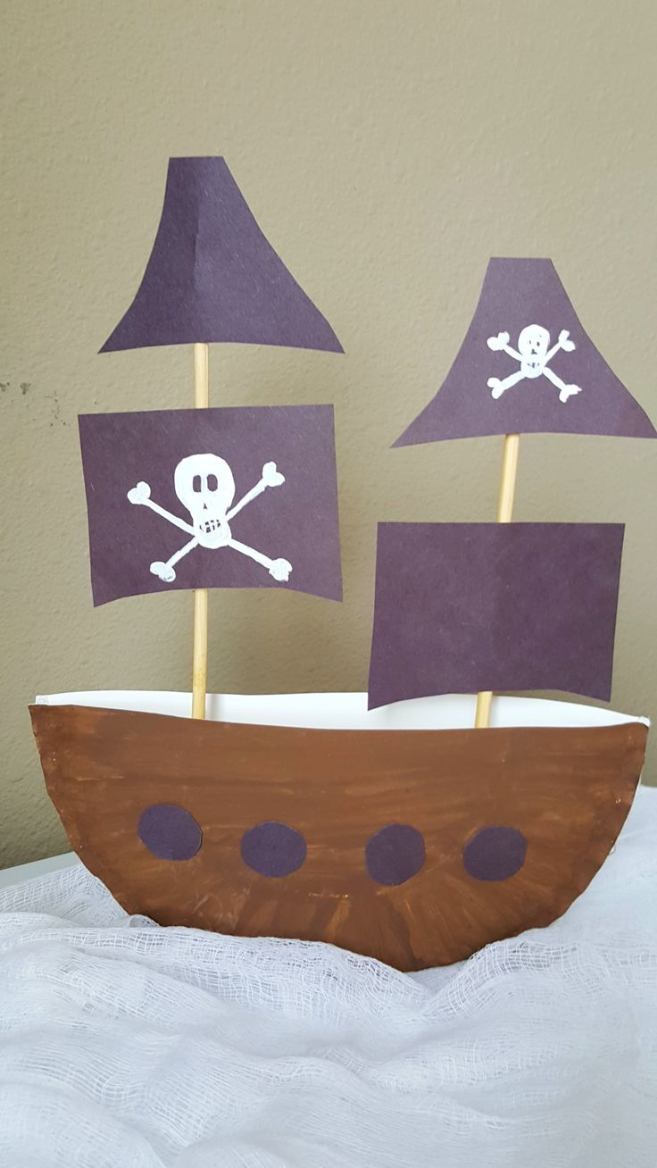 Design your own 3D Pirate Ship Paper Plate Craft 3D Project for Kids - great for preschool and daycare crafts or kid's pirate birthday parties!