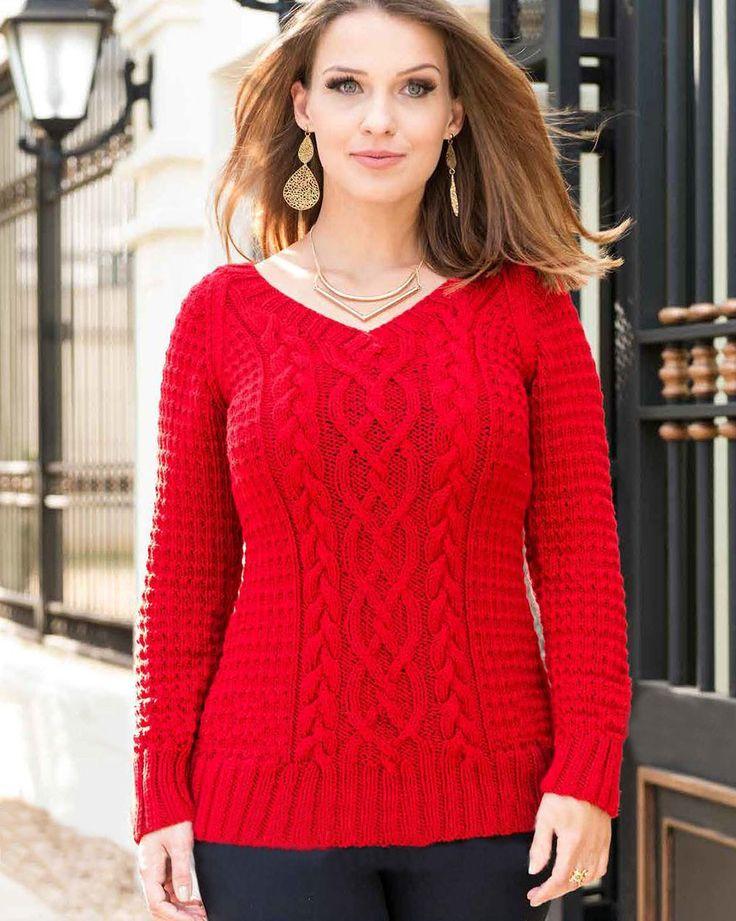 Пуловер с фантазийным узором и косам