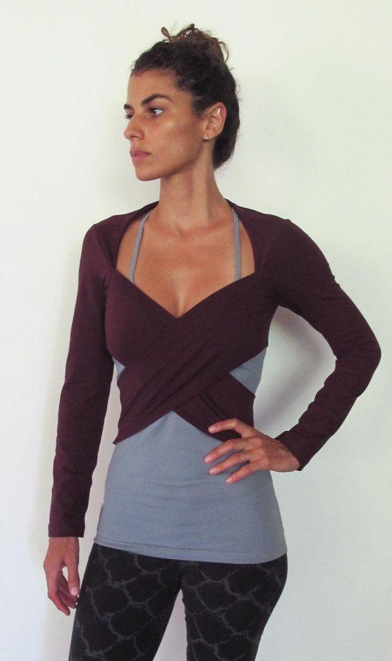 Multi tie wrap around bolero top. Yoga clothes - dance wear - fitness. Burgundy…