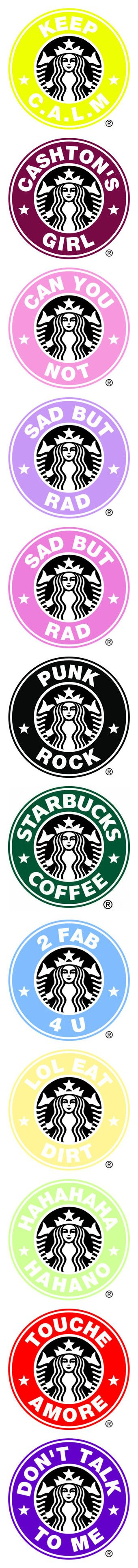 """""""Starbucks Logos"""" by kristina-payne ❤ liked on Polyvore featuring starbucks logos, backgrounds, filler, fillers, logo, other, starbucks, text, - fillers and words"""