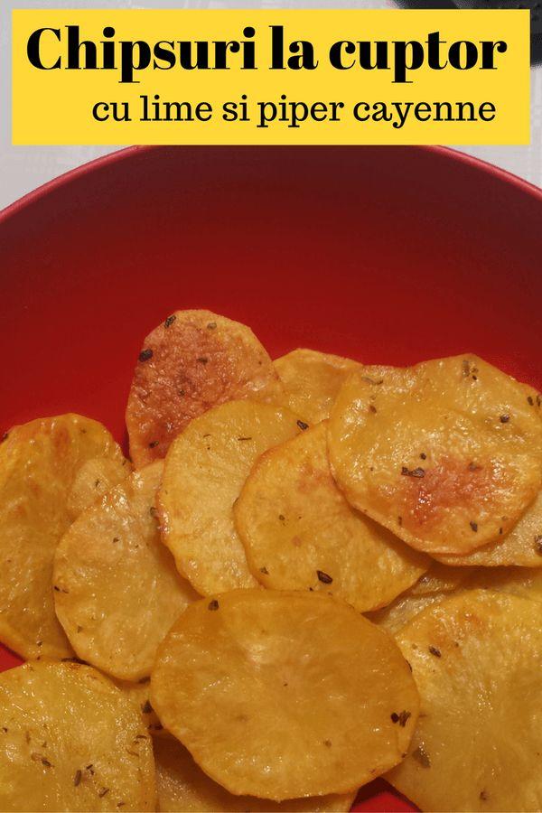 Chipsuri de cartofi la cuptor cu lime si piper cayenne
