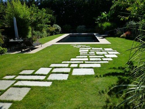 Pas japonais  Allee de jardin contemporain béton