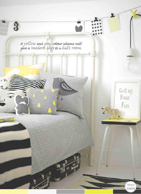 Me encanta estos tonos tan diferentes a los habituales en habitaciones de niños.