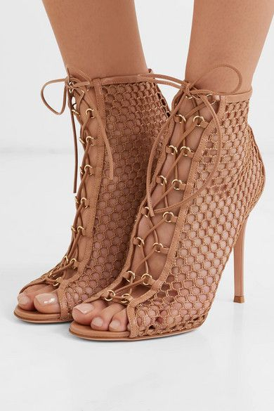 99b09af666 Gianvito Rossi - 105 Lace-up Fishnet Ankle Boots - Neutral in 2019 | Shoes  | Ankle boots, Boots, Shoe boots