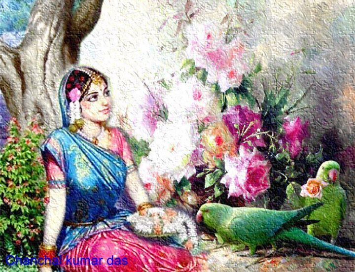 Radha with parrots