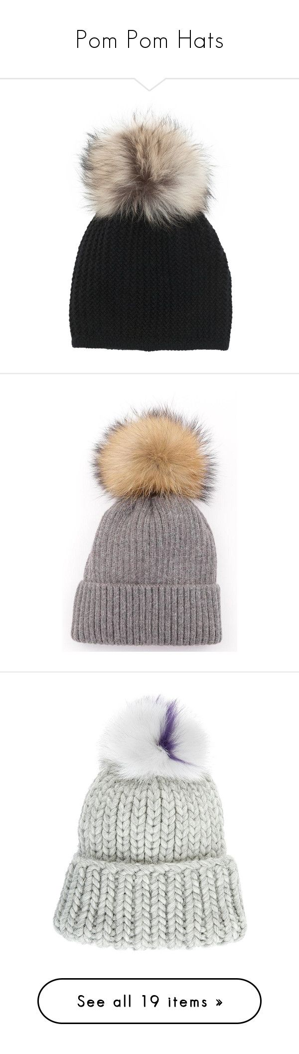 """Pom Pom Hats"" by tiana25 ❤ liked on Polyvore featuring accessories, hats, beanies, headwear, black, fur pom pom hat, fur hat, fur pom beanie, beanie cap hat and fur pom-pom hats"