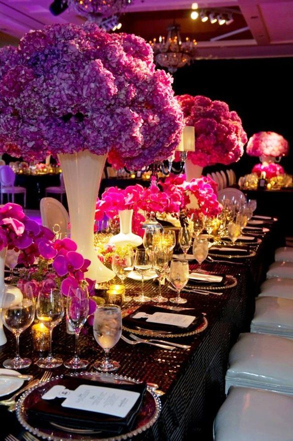 GORGEOUS table settings. <3: White Vase, Pink Flowers, Idea, Tables Sets, Color, Black White, Hot Pink, Bats Mitzvah, Design Blog