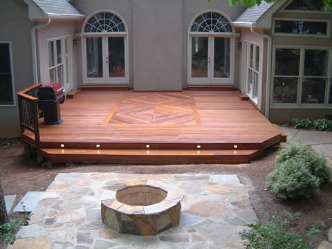 wood deck with one step and lighting - Wood Deck Design Ideas