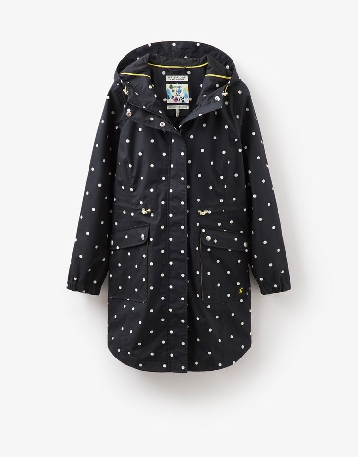 Raina Black Spot Waterproof Coat | Joules UK