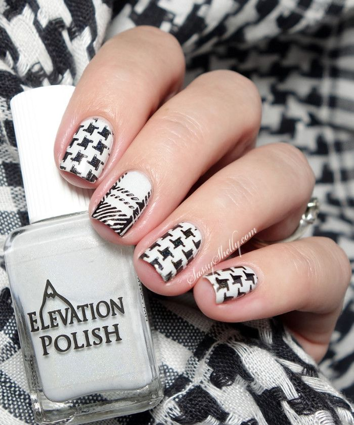 houndstooth pattern nail art with Elevation Polish and Gleamershop stamping plates   Sassy Shelly