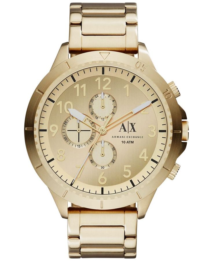 A|X Armani Exchange Men's Chronograph Gold-Tone Stainless Steel Bracelet Watch 50mm AX1752