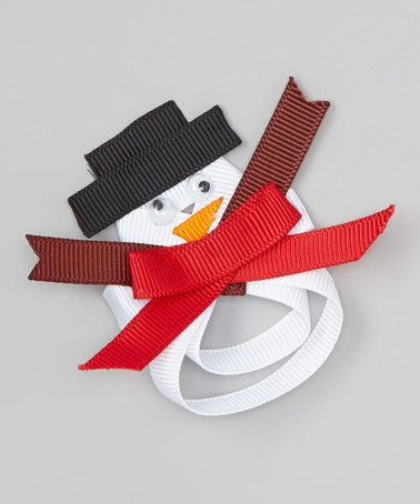 Take a look at this White Snowman Bow Clip by The Princess Pea on #zulily today!