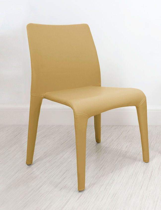 argenta coloured faux leather dining chair in mustard yellow from danetti